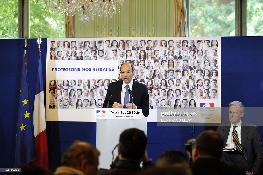 French Labour Minister Eric Woerth speaks during a press conference on the pension system next to Civil Service State Secretary Georgeds Tron on June 16, 2010 at the ministry in Paris. The French government unveiled a sweeping overhaul of its pensions system, raising the retirement age to 62 as it seeks to plug a hole in its finances and avoid a clash with unions.