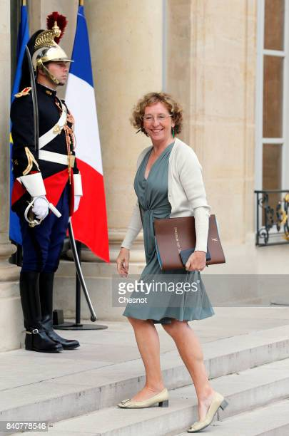 French Labour Minister Muriel Penicaud arrives at the Elysee presidential palace for the weekly cabinet meeting on August 30 2017 in Paris France...