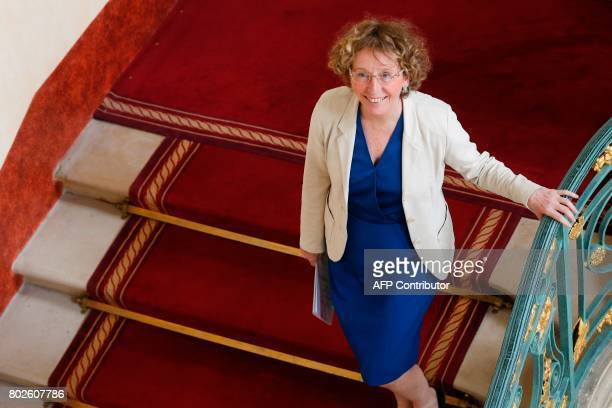 French Labour Minister Muriel Penicaud is pictured within a press conference on the Labour Code reform on June 28 2017 at the Labour Ministry in...