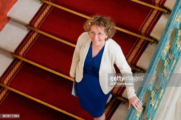 French Labour Minister Muriel Penicaud leaves after speaking during a press conference on the Labour Code reform on June 28 2017 at the Labour...