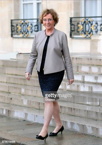 French Labour Minister Muriel Penicaud leaves the Elysee Palace after a meeting as part of the International Day for the Elimination of Violence...