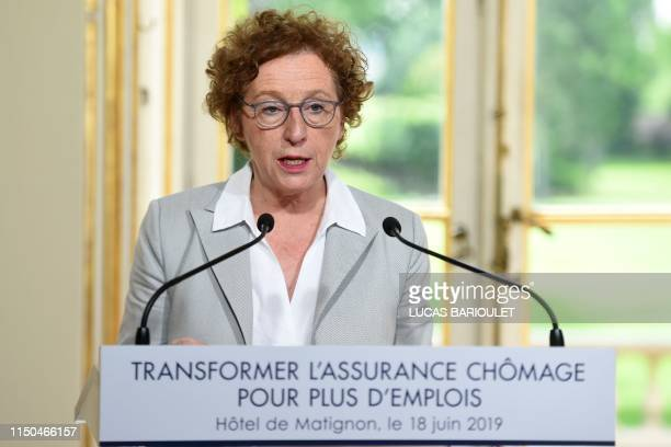 French Labour Minister Muriel Penicaud speaks during a press conference to announce an unemployment insurance new reform at the Hotel Matignon,...