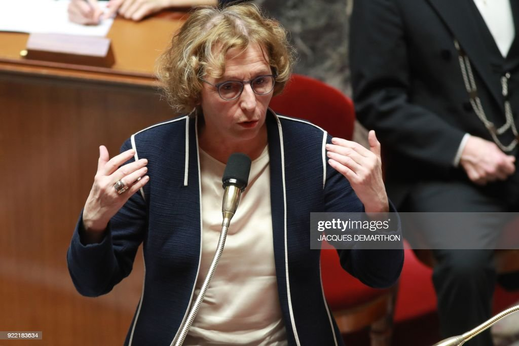 French Labour Minister Muriel Penicaud speaks during a session of questions to the government at the National Assembly in Paris on February 21, 2018. /