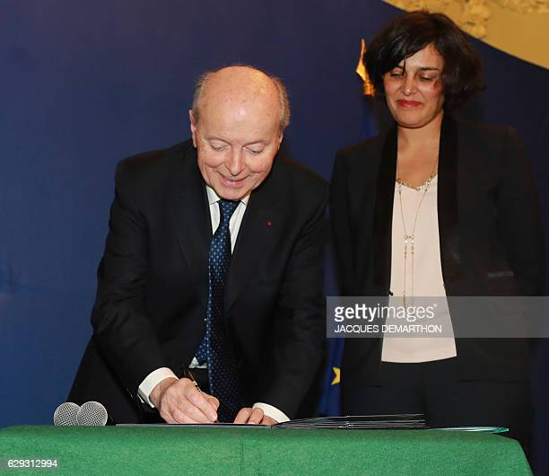 French Labour Minister Myriam El Khomri and French Ombudsman Jacques Toubon sign a convention on the fight against discrimination in employment on...
