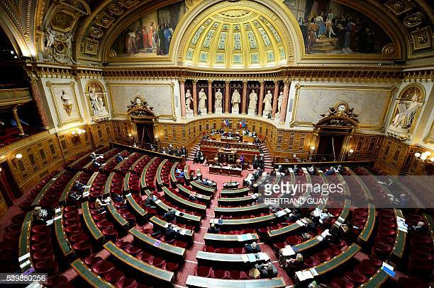 French Labour Minister Myriam El Khomri delivers a speech on June 13 2016 at the French Senate in Paris The Senate began today a review of proposed...