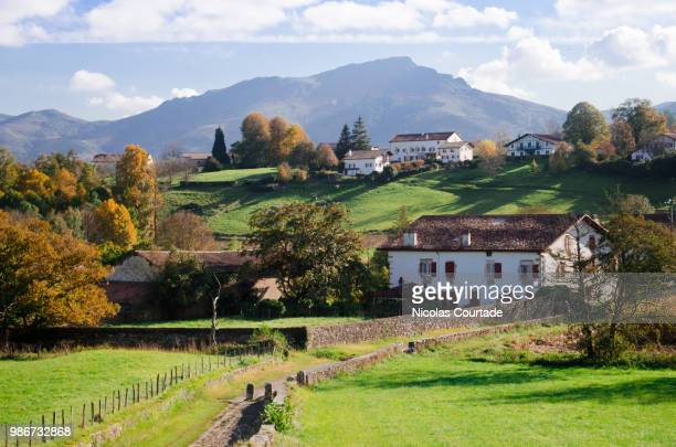 french landscape - basque country - farmhouse stock pictures, royalty-free photos & images
