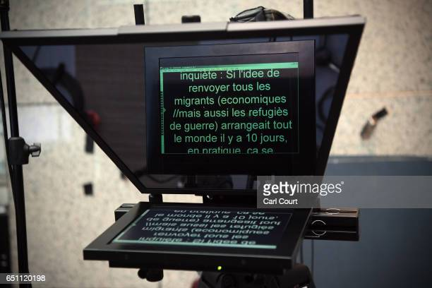 French language autocue assists in the media room on the first day of an EU summit, on March 9, 2017 in Brussels, Belgium. EU leaders will gather for...
