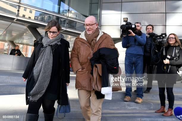 French lawyer Alain Jakubowicz leaves the Grenoble courthouse with a collaborator after the interrogation of Nordahl Lelandais on March 19 2018 in...