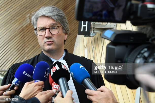 French lawyer Arnaud Dupin speaks to medias on May 28, 2019 at the Bordeaux court house, during the trial of his client, former rugbyman Anthony...