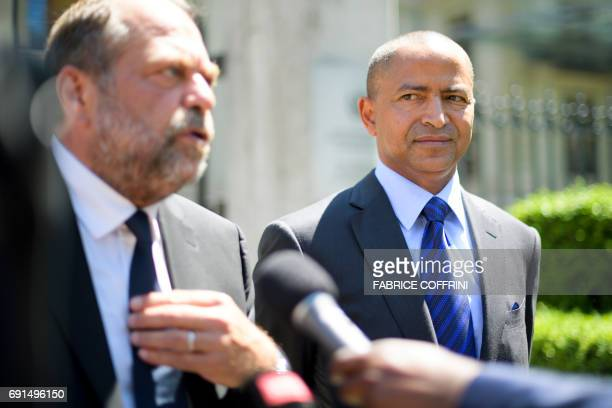 French lawyer Eric DupondMoretti speaks to the press as he leaves the Palais Wilson after filling with his client DR Congo's prominent opposition...