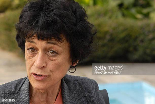 French lawyer for Charles Sobraj, Isabelle Coutant Peyre speaks to journalists in Kathamndu on May 7, 2008. Peyre said that all the documents...