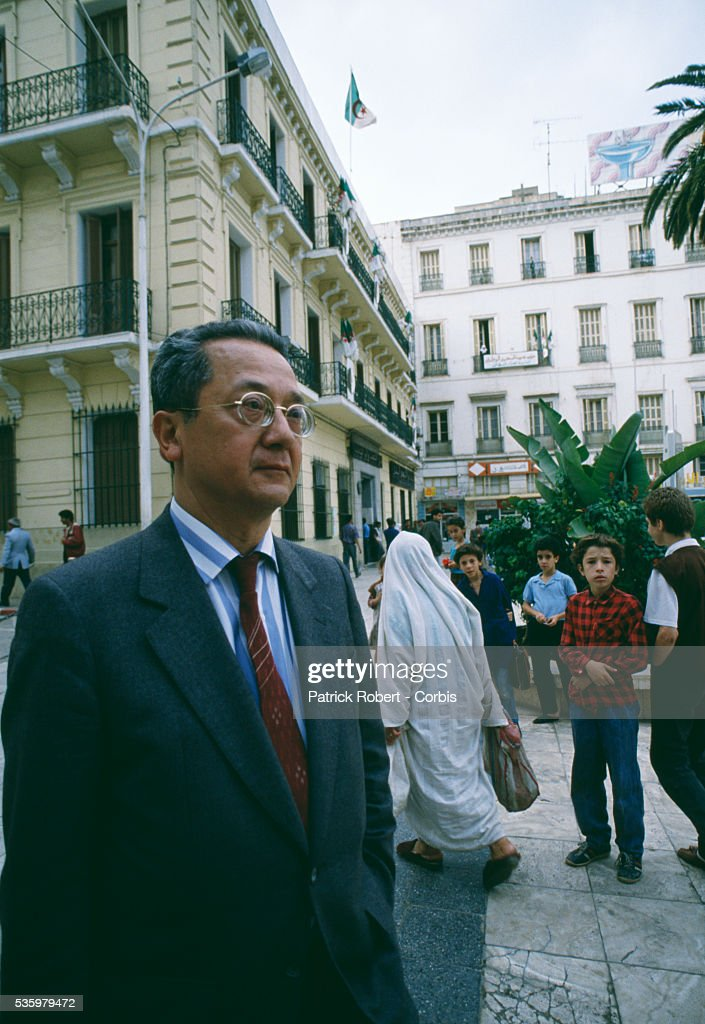 French lawyer Jacques Verges on the streets of Algiers before the November 1988 referendum on constitutional revision. Algerian human rights groups and activists protested in the days before the referendum was held. Verges once defended Lyon Gestapo Chief Klaus Barbie and international terrorist Carlos the Jackal, and brought a lawsuit against Amnesty International.