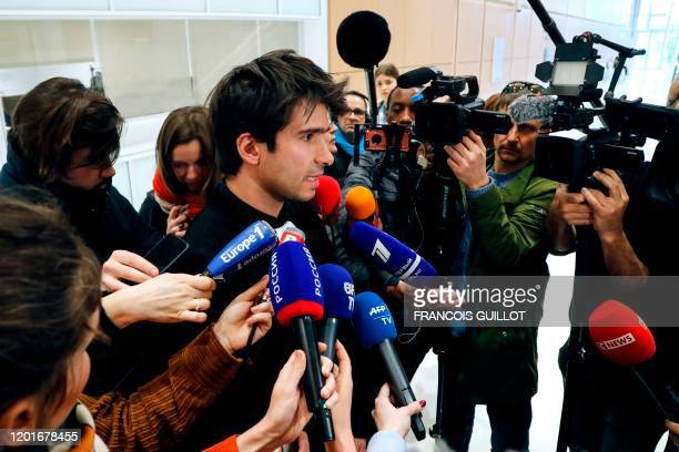 French lawyer Juan Branco an acquaintance of Russian artist Pyotr Pavlensky speaks to the press at the Tribunal de Paris courthouse in Paris on...