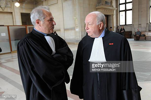 French lawyer Olivier Metzner's lawyer François Stefanaggi talks with French surgeon Stephane Delajoux's lawyer JeanRene Farthouat upon their arrival...