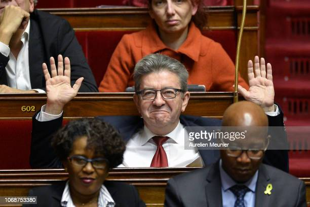 French leader of the extreme left party 'La France Insoumise' Jean Luc Melenchon reacts as Ministers answer deputies during the weekly session of...