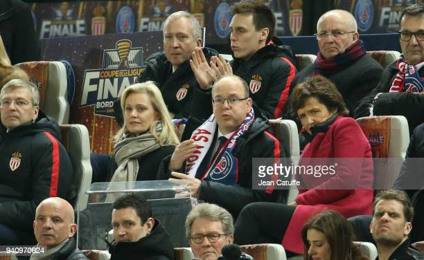 French League LFP President Nathalie Boy de la Tour Prince Albert II of Monaco above left VicePresident of AS Monaco Vadim Vasilyev Louis Ducruet...