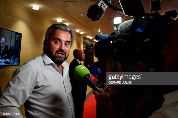 French leftist La France Insoumise Member of Parliament Alexis Corbiere speaks to the media at the National Assembly in Paris on July 25 2018 during...