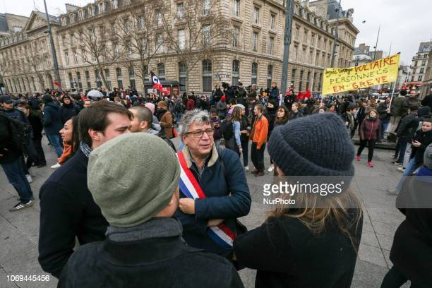 French leftist La France Insoumise member of Parliament Eric Coquerel takes part in a demonstration of high school students in Paris France on...