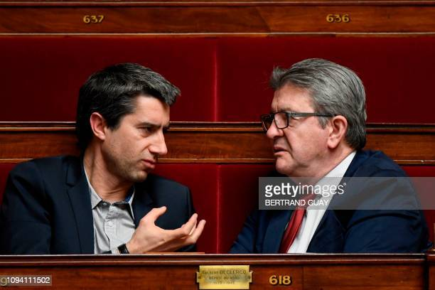 French leftist La France Insoumise party leader and member of parliament, Jean-Luc Melenchon and LFI MP Francois Ruffin speak during a debate at the...