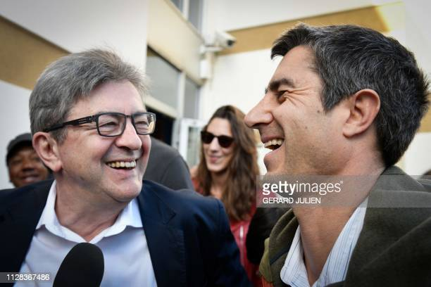TOPSHOT French leftist La France Insoumise party leader and member of parliament JeanLuc Melenchon and French journalist filmmaker and member of...
