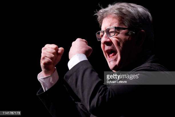 French leftist La France Insoumise party leader and member of parliament JeanLuc Melenchon gestures as he delivers a speech during La France...