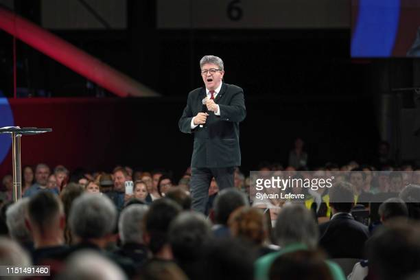 French leftist La France Insoumise party leader Jean-Luc Melenchon delivers a speech during the last campaign meeting for the upcoming European...