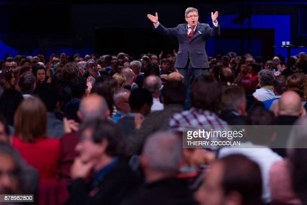 French leftist La France Insoumise party leader JeanLuc Melenchon delivers a speech during the Convention Nationale des Insoumis in Cournon dAuvergne...