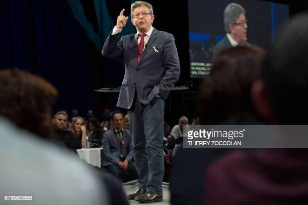 French leftist La France Insoumise party leader JeanLuc Melenchon delivers a speech during the Convention Nationale des Insoumis in Cournon dAuvergne...