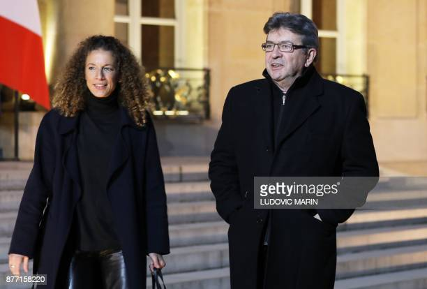 French leftist La France Insoumise party leader JeanLuc Melenchon and LFI spokeswoman Charlotte Girard arrive to speak to the press after meeting...