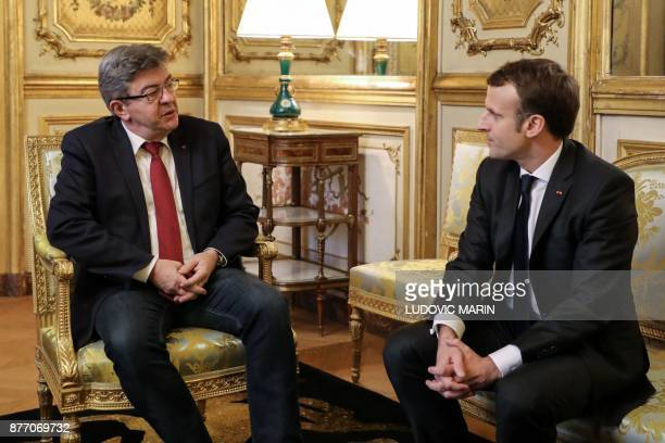 French leftist La France Insoumise party leader JeanLuc Melenchon meets French President Emmanuel Macron in his office at the Elysee palace on...