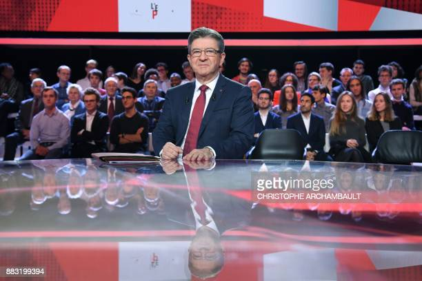 French leftist La France Insoumise party leader JeanLuc Melenchon poses prior to take part in the political TV show 'L'Emission politique' on...
