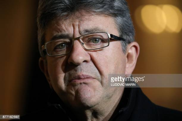 French leftist La France Insoumise party leader JeanLuc Melenchon speaks to the press after a meeting with the French president at the Elysee palace...