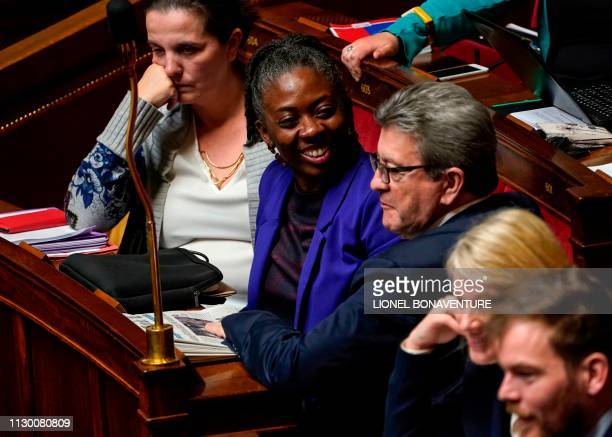 French leftist La France Insoumise party member of Parliament Daniele Obono looks at French member of Parliament and leader of the LFI party JeanLuc...