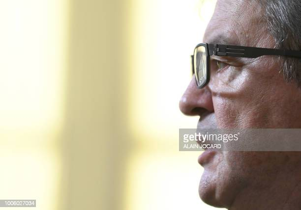French leftist La France Insoumise party member of Parliament Jeanluc Melenchon holds a press conference on the case of former top presidential...