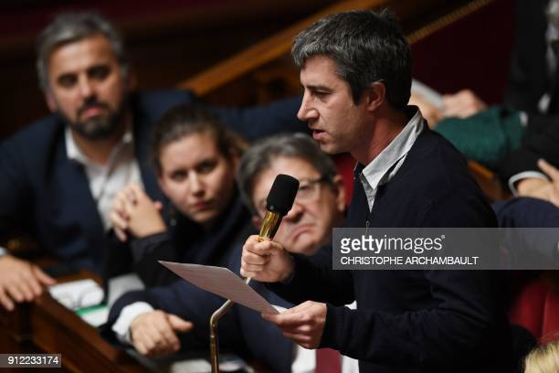French leftist La France Insoumise party member of Parliament Francois Ruffin speaks during a session of questions to the Government at the French...
