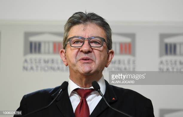 French leftist La France Insoumise party members of Parliament Jeanluc Melenchon holds a press conference on the case of former top presidential...