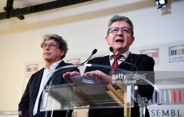 French leftist La France Insoumise party members of Parliament Jeanluc Melenchon and Eric Coquerel hold a press conference on the case of former top...