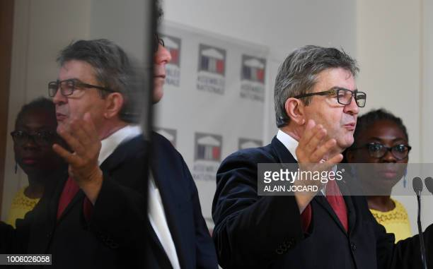 French leftist La France Insoumise party members of Parliament Jeanluc Melenchon and Danielle Obono hold a press conference on the case of former top...