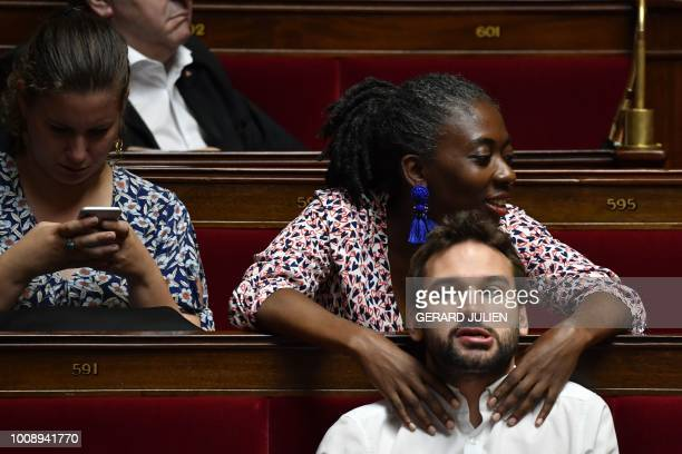 French leftist La France Insoumise party members of Parliament Mathilde Panot Daniele Obono and Ugo Bernalicis attend a session of questions to the...