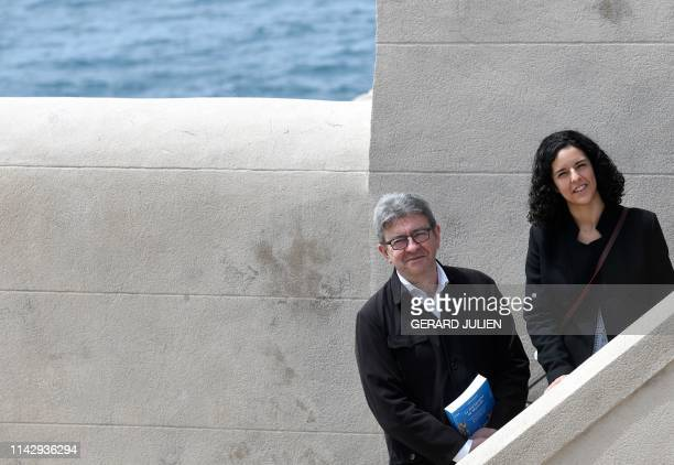 French leftist La France Insoumise party's head candidate for the upcoming European elections Manon Aubry and LFI party's president JeanLuc Melenchon...