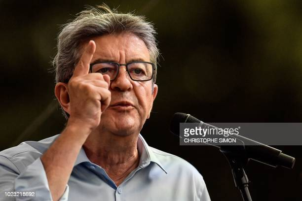 French leftist La France Insoumise party's leader and member of Parliament, Jean-Luc Melenchon, gestures as he delivers a speech during the LFI...