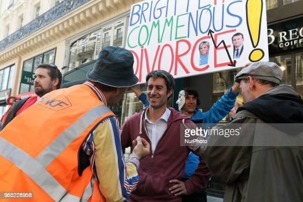 French leftist party quotLa France Insoumisequot MP Francois Ruffin speaks with demonstrators during a protest dubbed a quotParty for Macronquot...