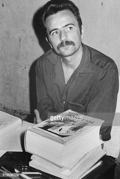 French leftist writer Regis Debray is shown in his cell The sedition trial against the revolutionary resumed in public session with the area in front...