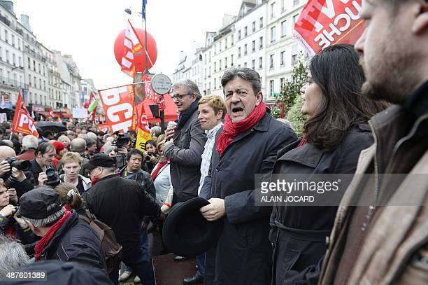 French leftwing party 'Parti de Gauche' copresident JeanLuc Melenchon French left party Ensemble's leader Clementine Autain Communist Party National...