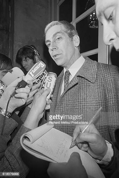 French leftwing politician Robert Fabre talks to the press at Hotel Matignon in Paris Fabre the Deputy of Decazeville was invited to meet with Prime...