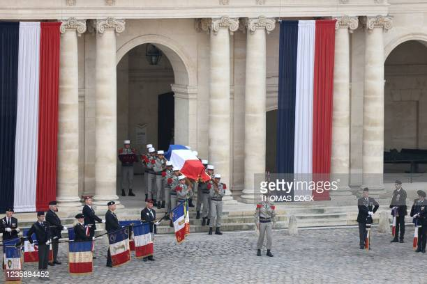 French Legionnaires carry the coffin of Hubert Germain during the national memorial service for him - the last surviving Liberation companion - at...
