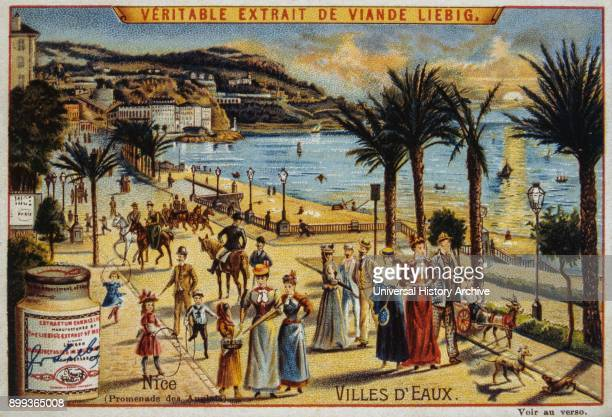 French Leibig card dated circa 1900 showing tourists walking along the Promenade des Anglais at Nice France