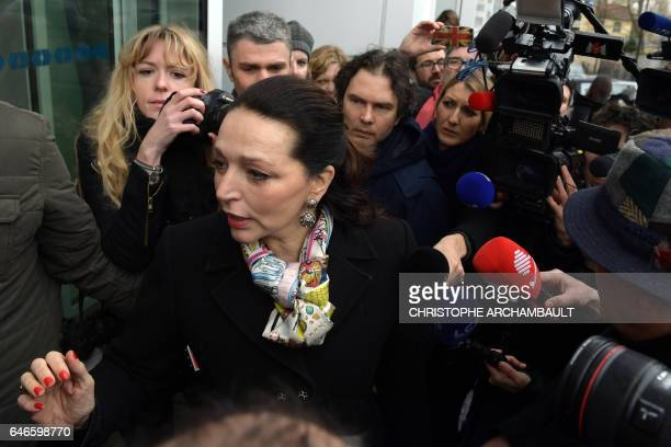 French Les Republicains MP Valerie Boyer arrives at the campaign headquarters of French presidential election candidate for the rightwing Les...