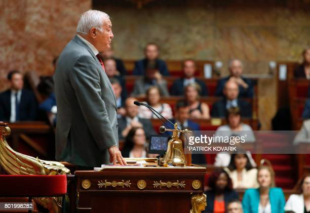 French Les Republicains party lawmaker Bernard Brochand the most senior member of the French National Assembly, delivers a speech during the...