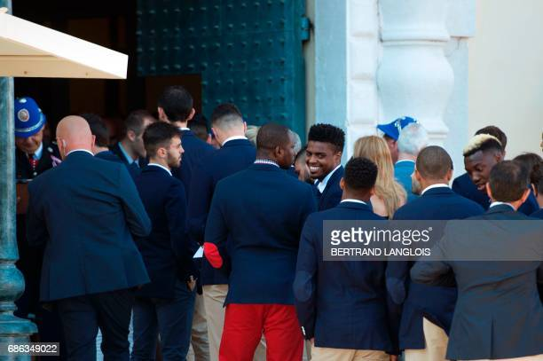 French Ligue 1 football club Monaco's players arrive to the Prince's Palace on May 21, 2017 in Monaco. Monaco won their first French Ligue 1 football...